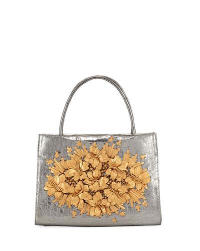 Metallic Floral Crocodile Tote Bag