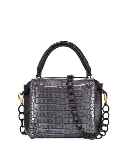 Tricolor Double-Flap Crocodile Satchel Bag