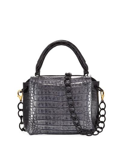 Tricolor Double-Flap Crocodile Satchel Bag