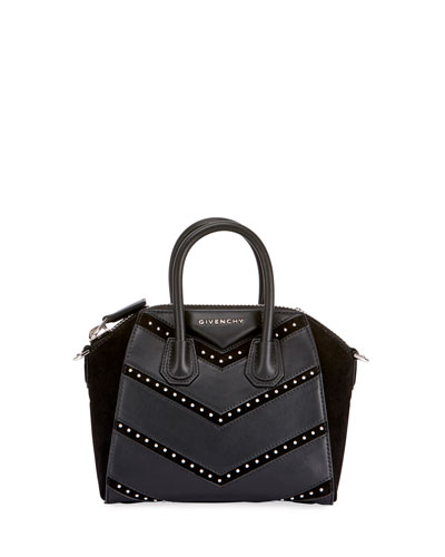 Antigona Mini Studded Chevron Satchel Bag
