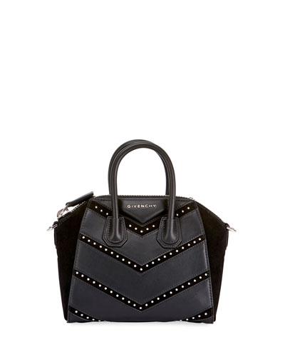 Antigona Mini Studded Chevron Satchel Bag