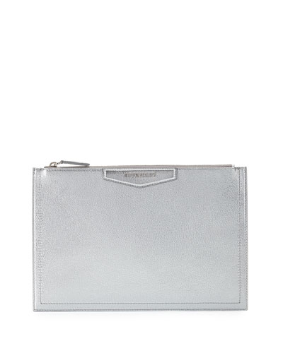 Antigona Metallic Leather Pouch Bag