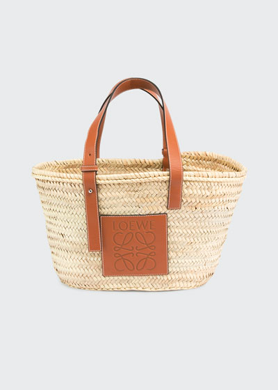 Medium Raffia Basket Tote Bag