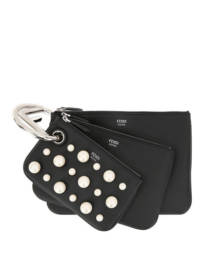 Triplet Leather Zip Pouch Set on Logo Ring