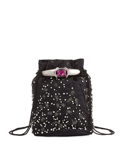 Arison Embroidered Satin Pouch Bag