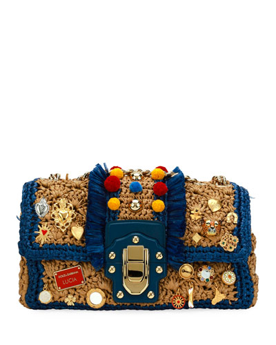 Lucia Raffia Shoulder Bag with Embellishment