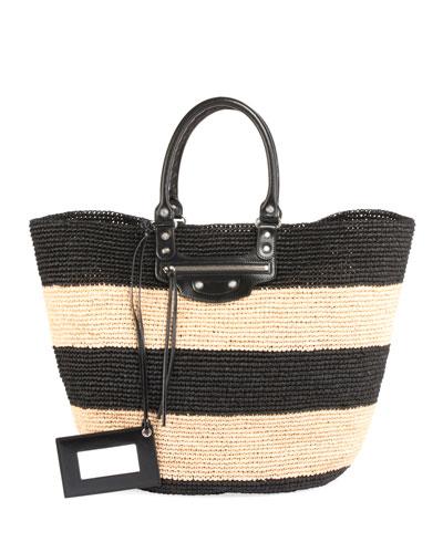 Panier Large Striped Raffia Tote Bag