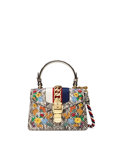 Sylvie Mini Embroidered Snakeskin Top-Handle Bag