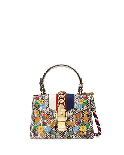 Sylvie Mini Embroidered Snakeskin Top-Handle Bag