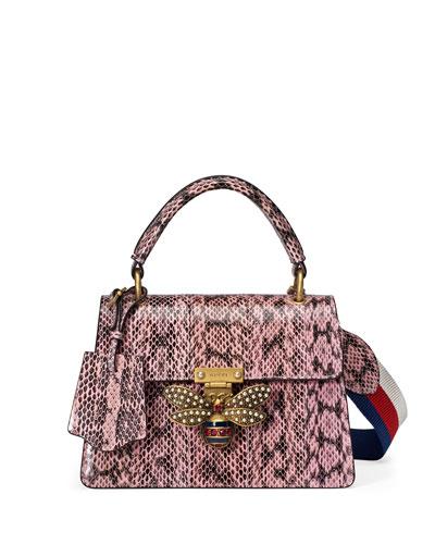 Queen Margaret Small Snakeskin Top-Handle Bag