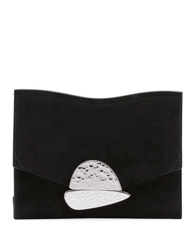 Curl Small Suede Clutch Bag