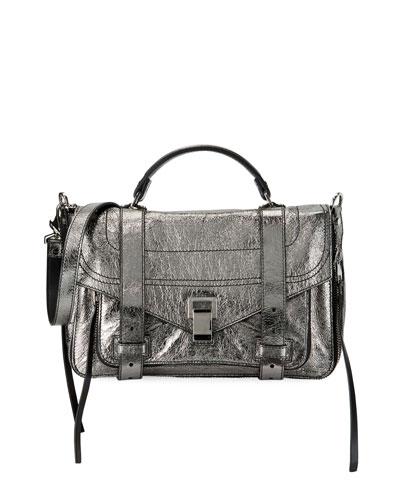 PS1+ Medium Metallic Paper Leather Satchel Bag