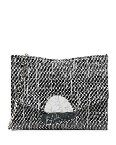 Small Curl Glossy Tweed Clutch Bag
