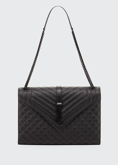Large Tri-Quilted Matelasse Grain de Poudre Flap Shoulder Bag, Black Hardware