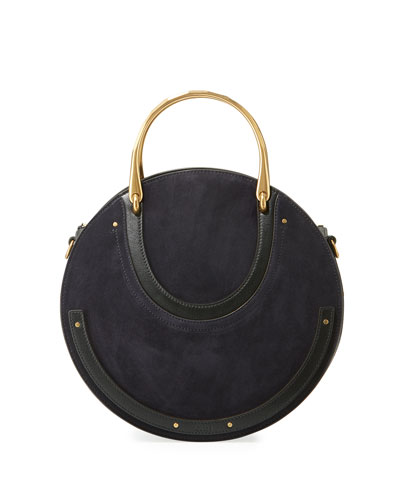 Pixie Medium Round Suede/Leather Shoulder Bag