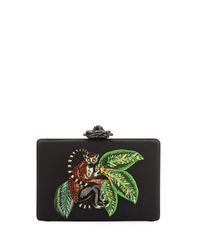 Rogan Beaded Lemur Clutch Bag