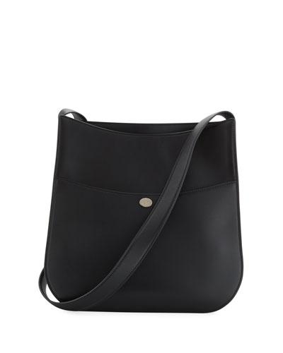Fleur Large Leather Crossbody Bag, Black