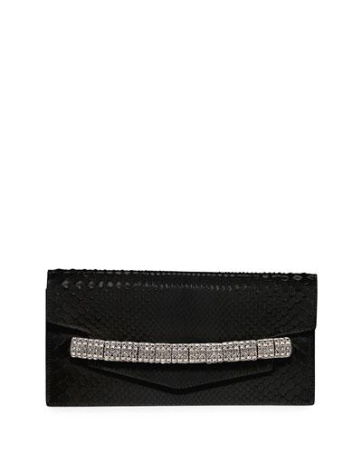 Crystal-Strap Python Clutch Bag