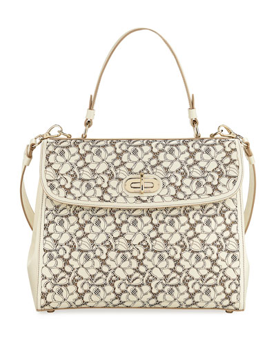 Tiffin 33 Laser-Cut Leather Lace Satchel Bag