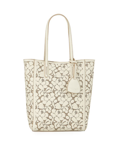 Laser-Cut Lace Mini Modern Leather Tote Bag