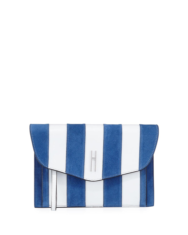 Bobby Striped Clutch Bag, White/Blue