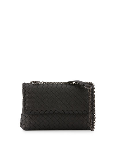Baby Olimpia Intrecciato Shoulder Bag, Black