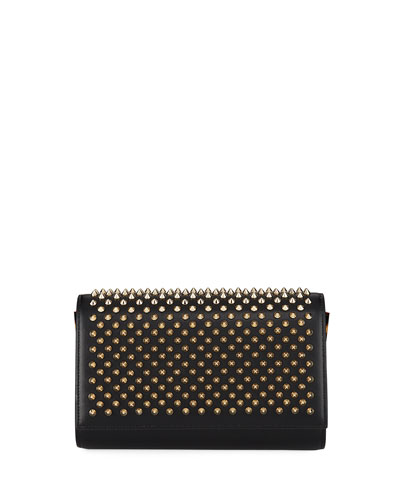 Paloma Fold-Over Spike Clutch Bag, Black