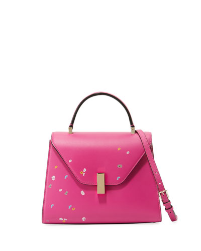 Iside Floral-Print Leather Satchel Bag