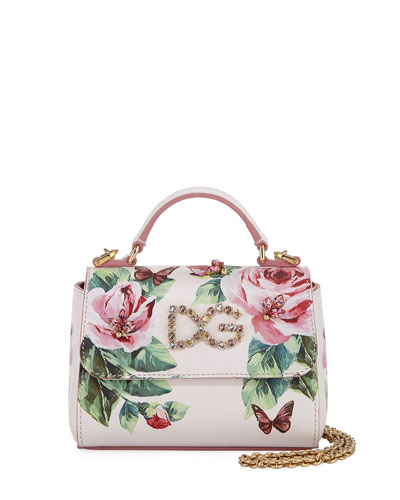 Girls' Floral Leather Top Handle bag w/ Crystal Embellishment