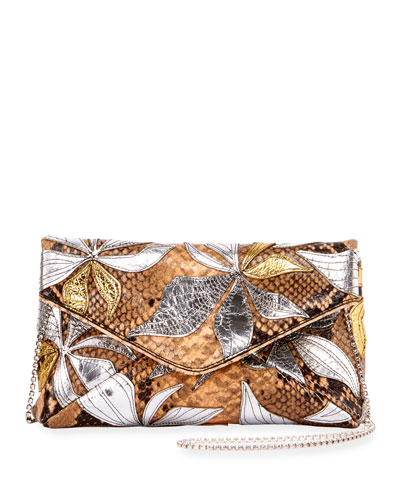 Metallic Leaf-Embellished Chain Shoulder Bag