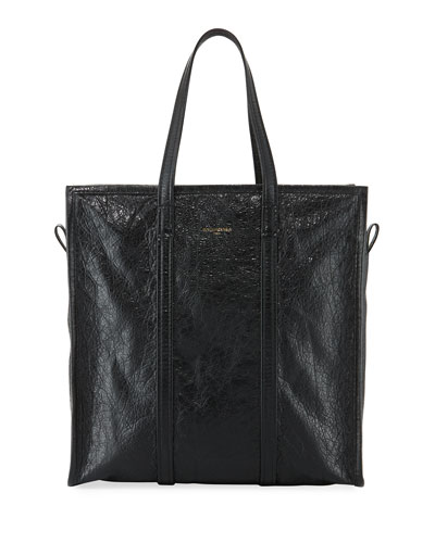 Bazar Medium Leather Shopper Tote Bag, Black