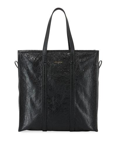 Bazar Medium Leather Shopper Tote Bag, Black
