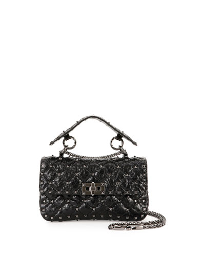 Rockstud Quilted Shrunken Leather Shoulder Bag