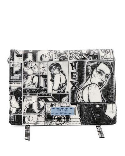 Vintage Comic Glace Calf Shoulder Bag