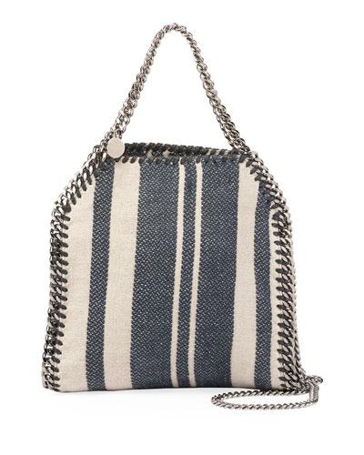 Falabella Striped Canvas Mini Tote Bag