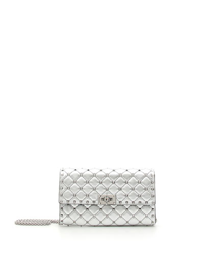 Rockstud Spike Small Flap Shoulder Bag - Silvertone Hardware
