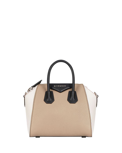 SMALL ANTIGONA TRICOLOR SUGAR LEATHER SATCHEL - BEIGE