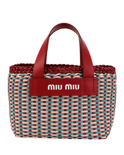 Woven Patch Small Tote Bag