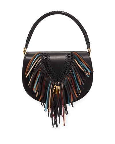 Leather Tooling and Fringe Flap Crossbody Bag, Black