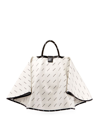 Ville Logo-Print Leather Satchel Bag w/Cape