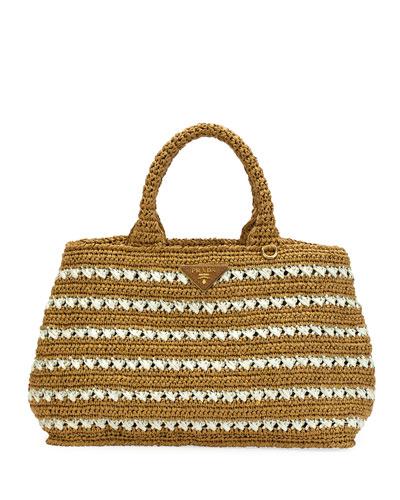 Striped Raffia Carryall Tote Bag