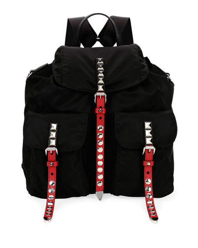 Studded Bicolor Nylon Backpack