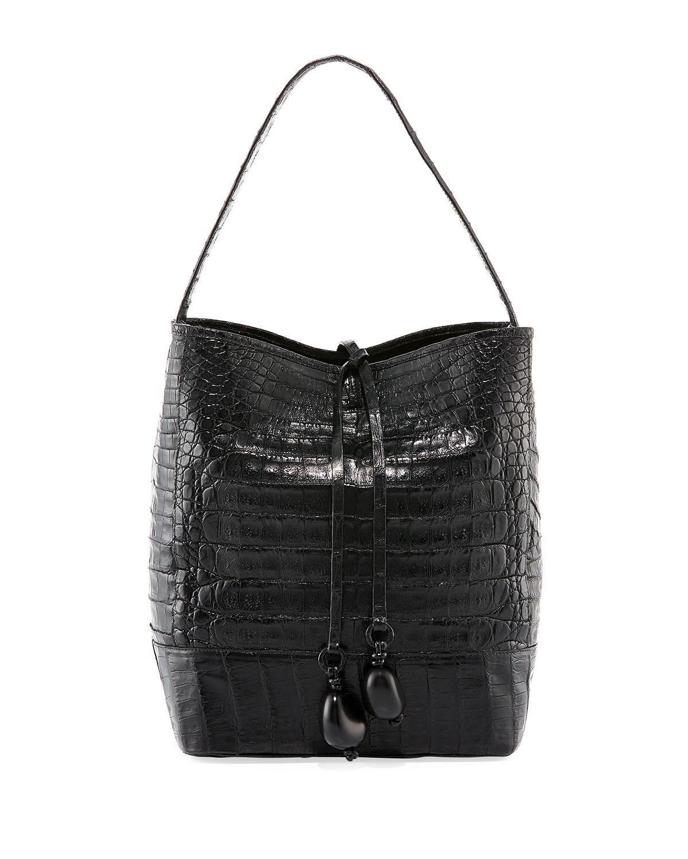 MEDIUM CROCODILE BUCKET BAG W/ RINGS