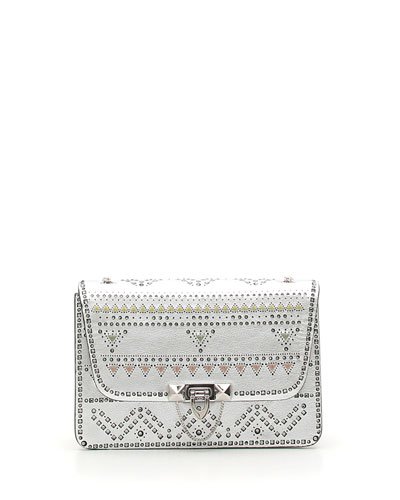Demilune Small Geometric Studded Metallic Leather Shoulder Bag