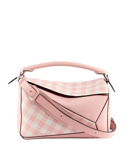 Puzzle Gingham Leather Satchel Bag