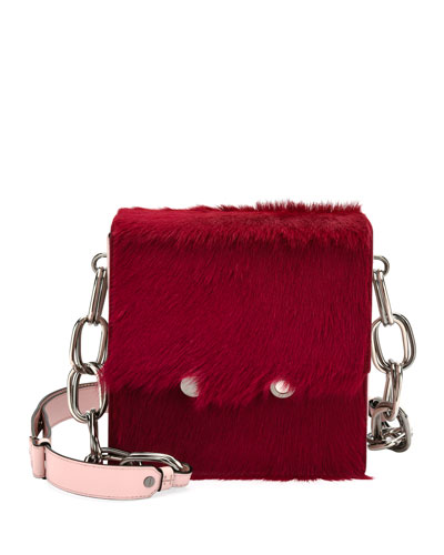 Flap-Top Calf Hair Chain Shoulder Bag