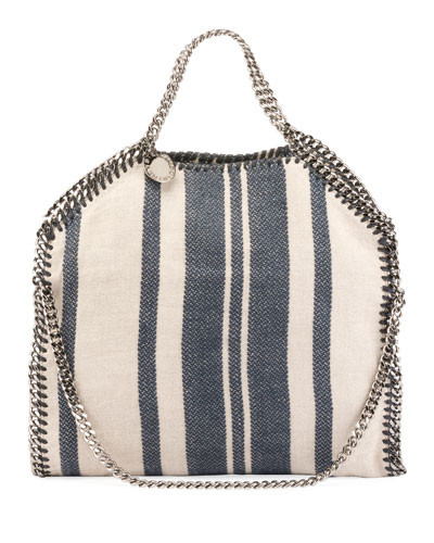 Striped Canvas Chain Falabella Tote Bag