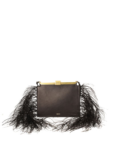 Leather and Feather Frame Pouch Bag
