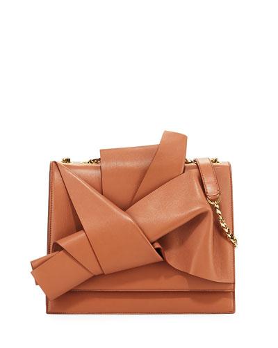 Large Leather Bow Shoulder Bag