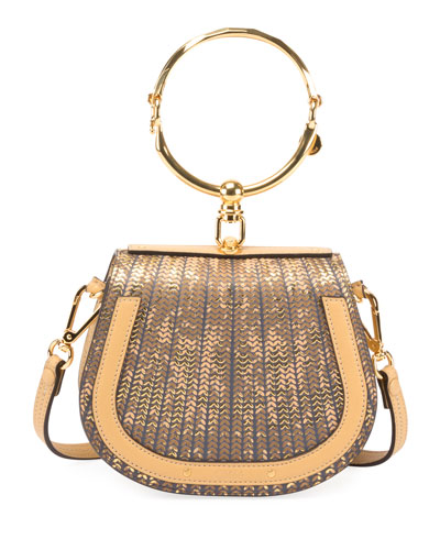 Nile Small Sequins Mirror Bracelet-Handle Shoulder Bag
